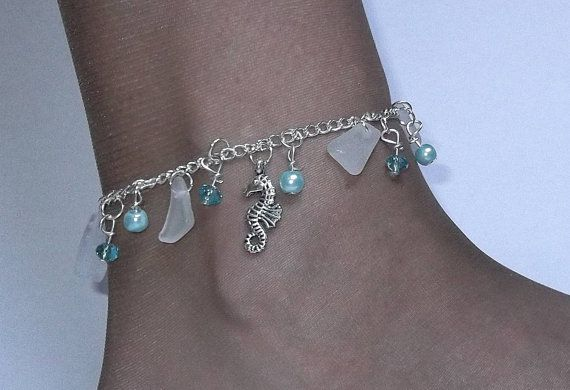 Sea Shell Anklet With Aqua and White Sea Glass Made of Sterling Silver