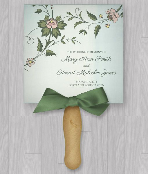DIY Watercolor Flowers Paddle Fan Wedding Program Template Add Your Text And Print At
