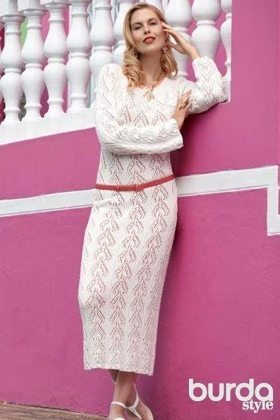 Белое ажурное платье - схема вязания спицами. Вяжем Платья на Verena.ru