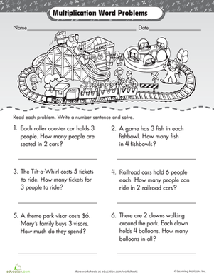 intro to multiplication roller coaster word problems  worksheets  second grade third grade multiplication worksheets intro to multiplication  roller coaster word problems