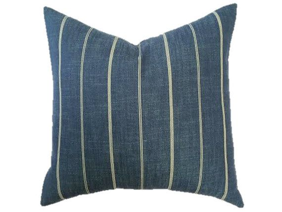 22X22 Pillow Insert Interesting Navy Denim Indigo And Cream Ticking Stripe Linen Designer Pillow Decorating Inspiration