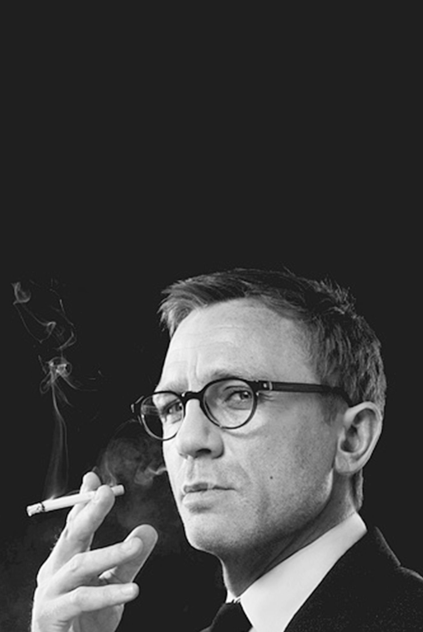 Daniel Craig smoking a cigarette (or weed)