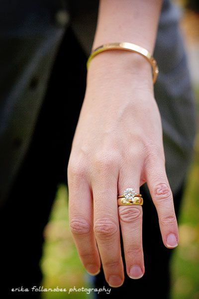 Image Result For Gold Solitaire With Thick Wedding Band