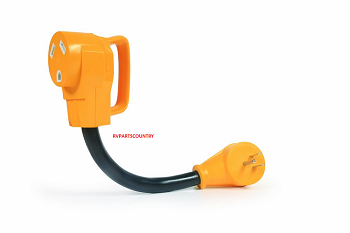 Power Grip Dogbone Adapter, 15M - 30F, Handles make unplugging easier •15M / 30F , 125V/1875W •Certified for use in both US and Canada •Handles are molded and made of heavy-duty polyvinyl plastic •180 degree turn from male end to female end reduces stress.