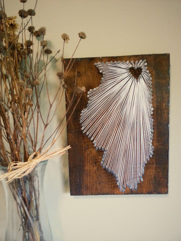 Illinois state string art state nail art rustic wood wall art