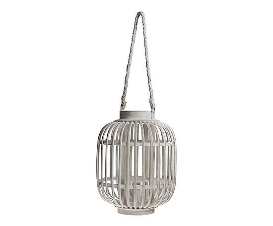 Lanterne bois de bambou, blanc - Ø24