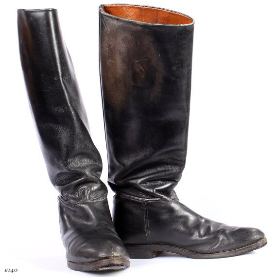 Vintage RIDING Boots . Black Leather Jackboots Tall Military ...