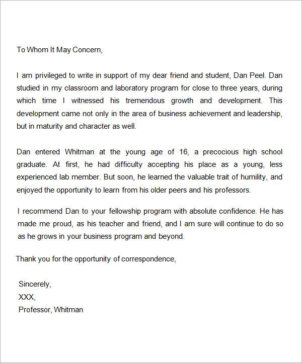samples letter of recommendation for scholarship