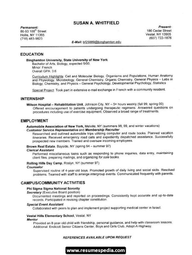 sample beautician resume Sample Student Resume 01 Resumespedia