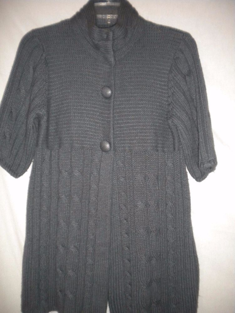 JJ Basics Size Large Short Sleeve Snap Front Gray Womens Tunic ...