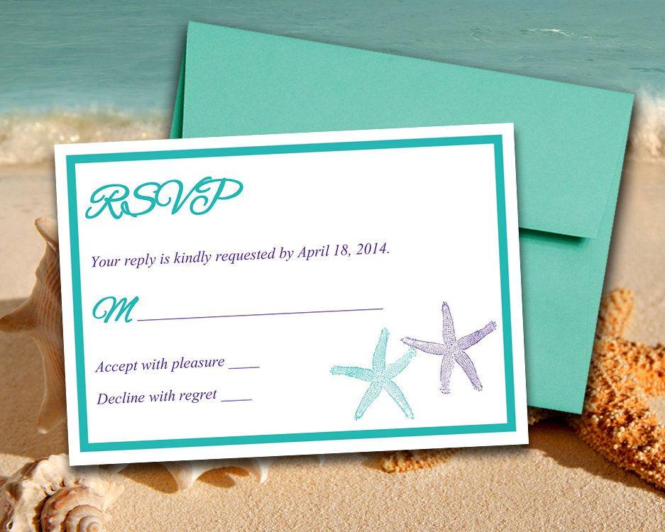 Beach Wedding RSVP Template Response Card  - free rsvp card template