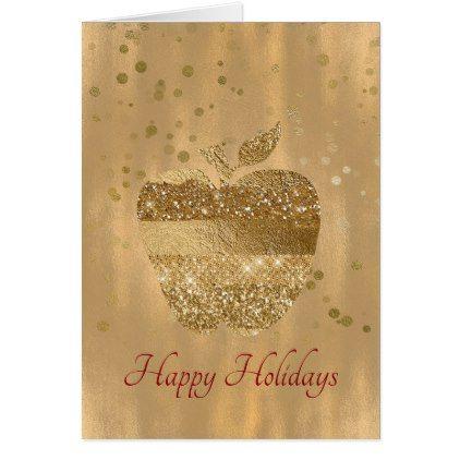 Gold Apple Teacher\u0027s Christmas Greeting Card