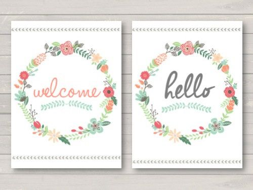 Floral Hello / Welcome Spring Welcome Summer by McKenzieDecor