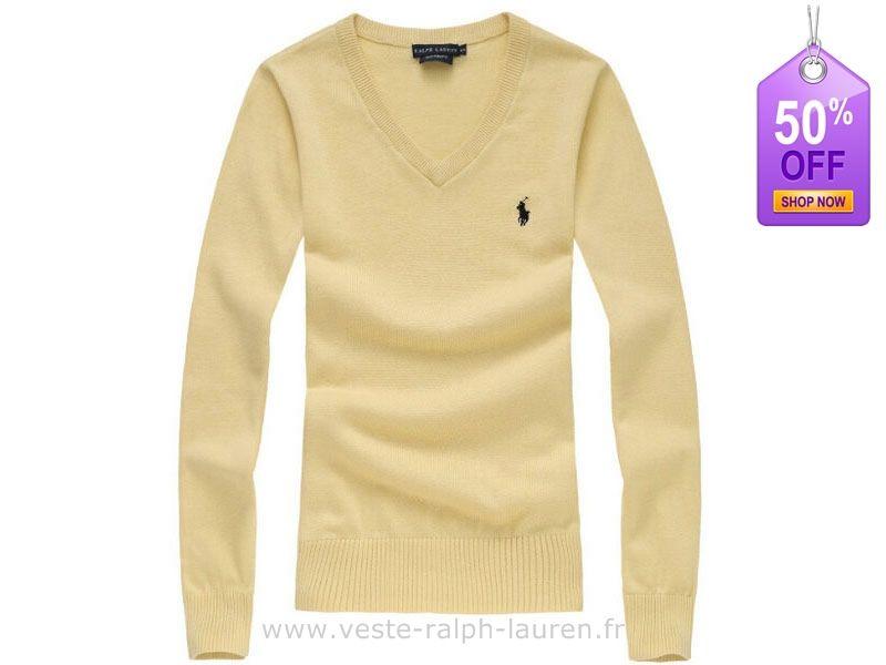 3cc7b53dec4b0 boutique Officielle femmes nouveau Ralph Lauren Pulls chute hiver fashion  polo elegant v col hommesche longue jaune Polo Sport