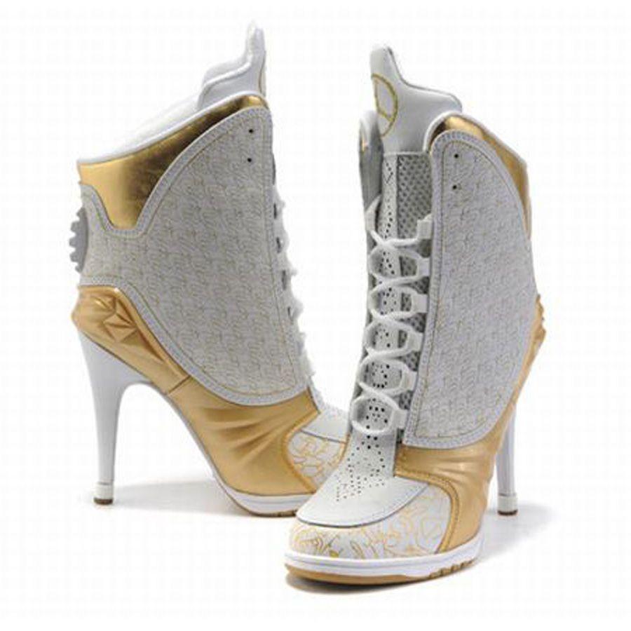 Discount Authentic Womens Nike Air Jordan 23 High Heels Shoes White/Gold