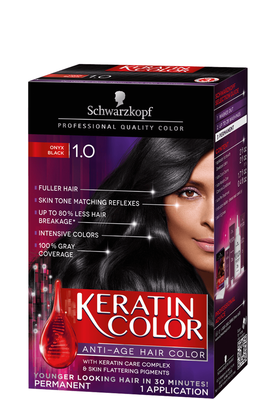 1 0 Onyx Black Hair Color Cream Keratin Hair Color