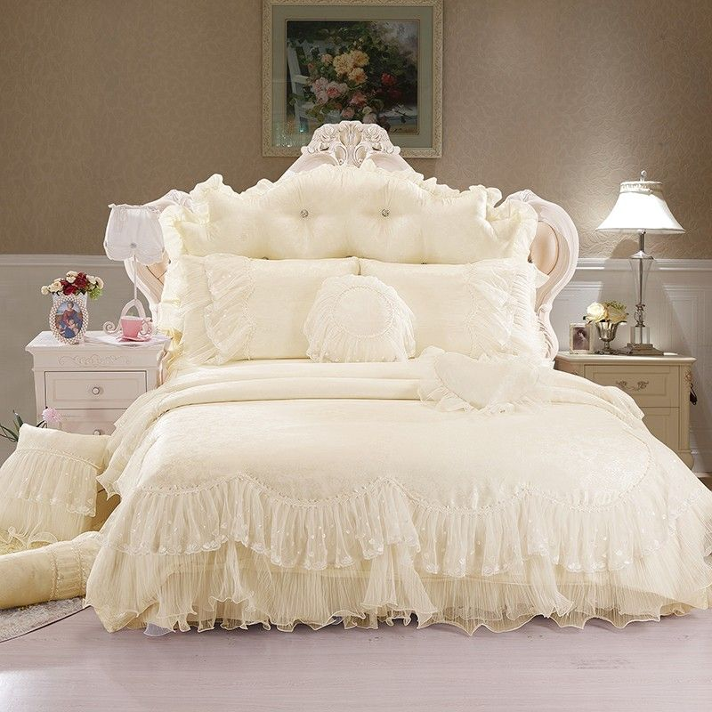 Girls Lace Ruffle Ice Cream Tulle Jacquard Duvet Cover Bedding