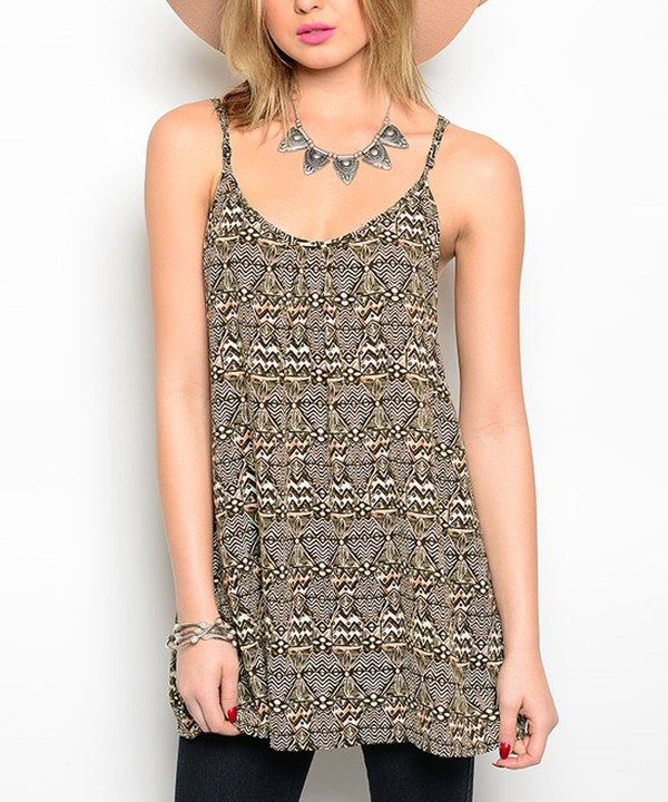 Look at this Brown & Ivory Tribal Swing Top on #zulily today!