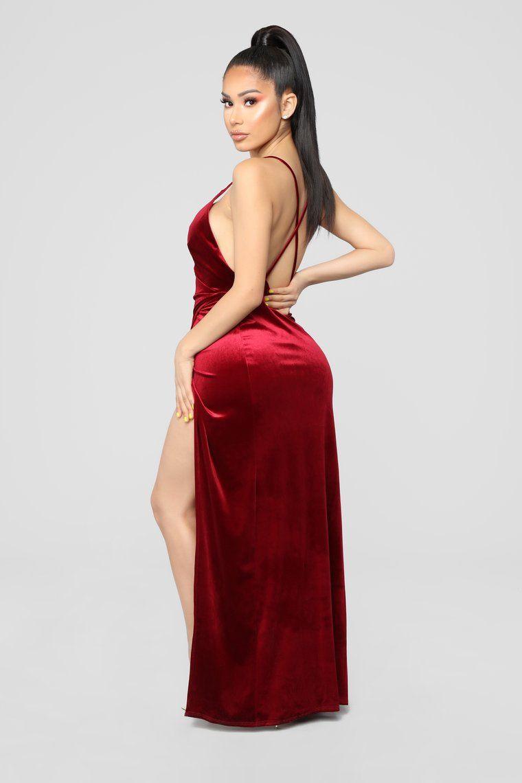 1a5dd159f52 Angelique Velvet Maxi Dress - Dark Burgundy in 2019