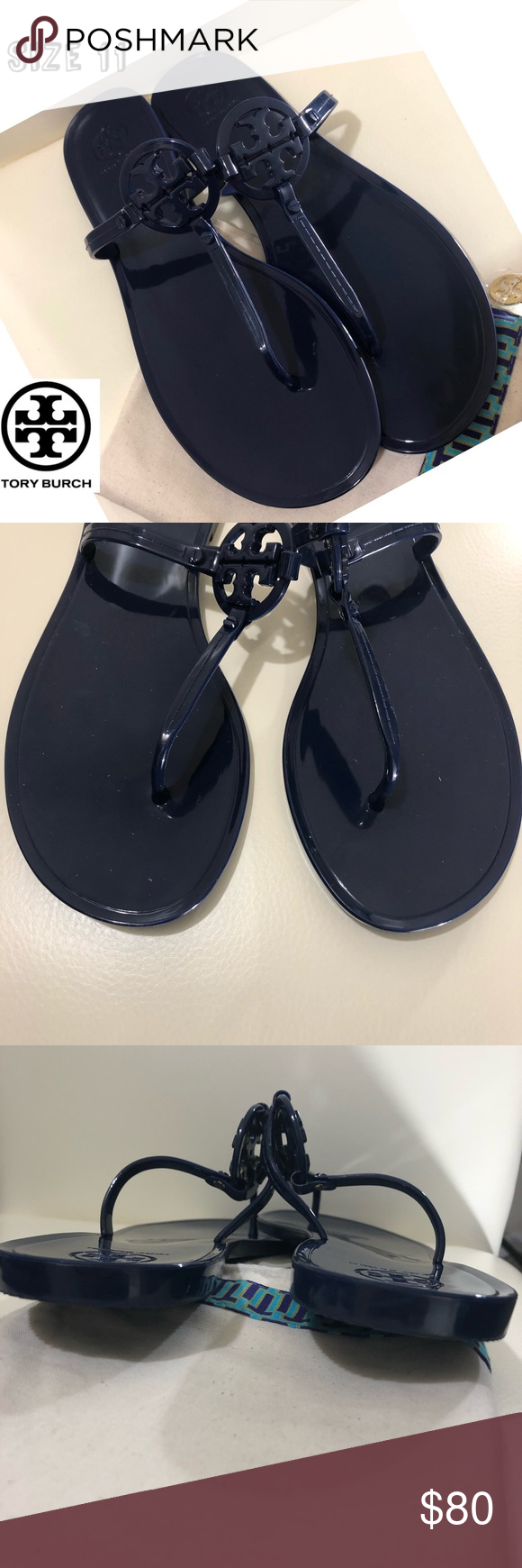 0af2d49b5 TORY BURCH Mini Miller jelly thong sandals BRAND NEW Tory Burch Jelly thong  sandal with Tory logo on top navy color