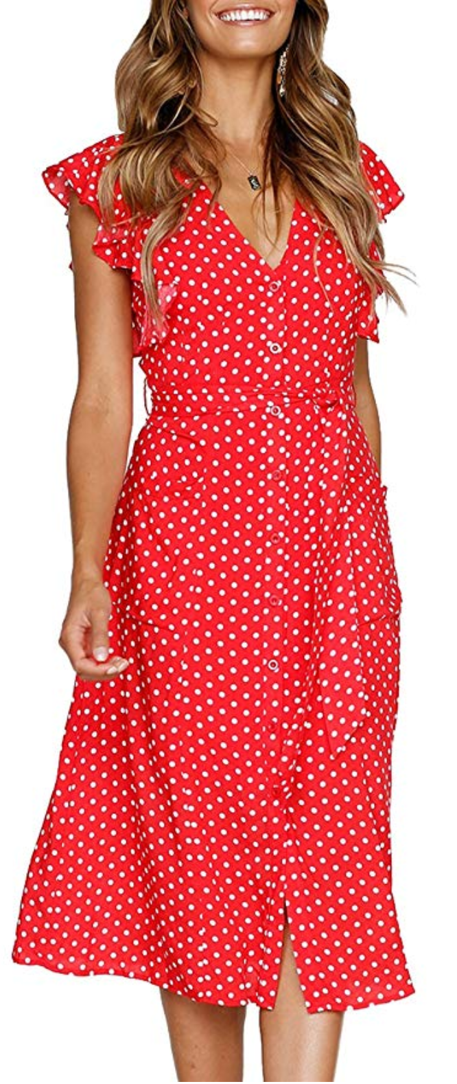 Mitilly Women S Summer Boho Polka Dot Sleeveless V Neck Swing Midi Dress Pockets Medium Red Gorgeous Casual Midi Swing Dress Midi Dress Casual Womens Dresses [ 1578 x 666 Pixel ]