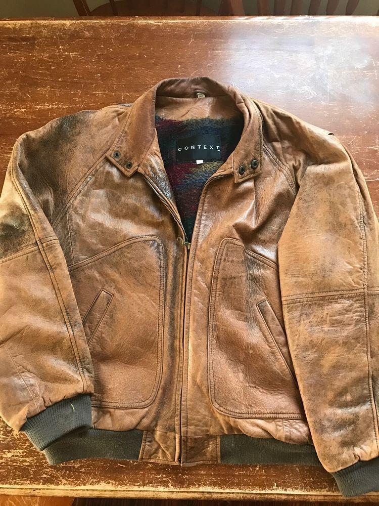 445c0d194 CONTEXT Men's Distressed Leather VINTAGE Lined Flight/Bomber Jacket ...