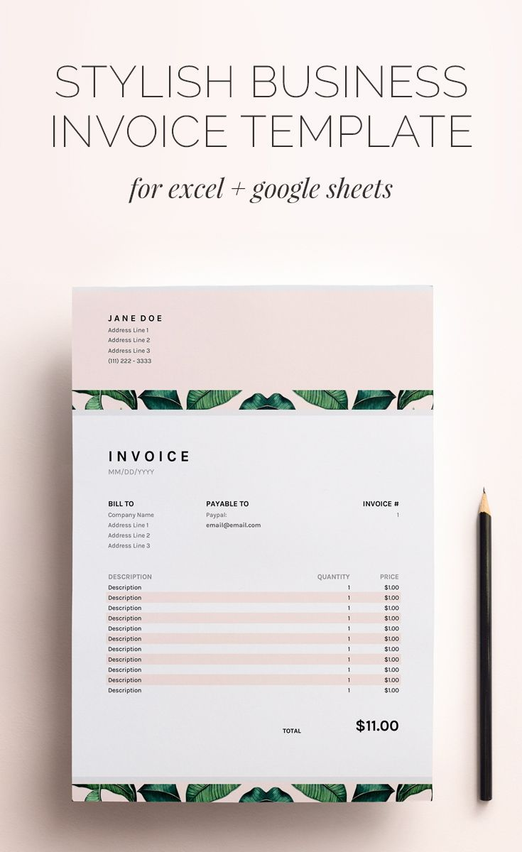 Excel Template For Invoice Pleasing This Stylish Business Invoice Template For Excel And Google Sheets .