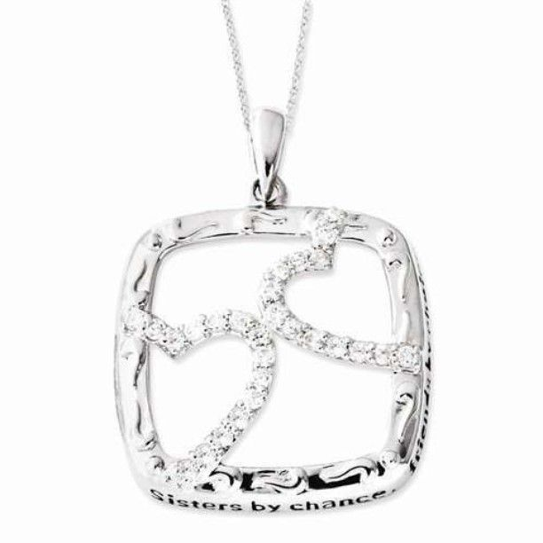 Sterling Silver Antiqued CZ Sisters By Chance 18in Hearts Necklace - $64.00