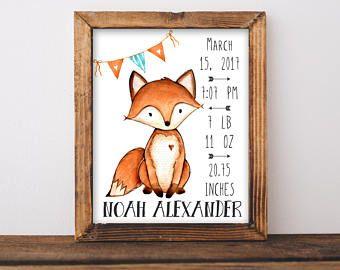 Fox Birth Stats Wall Art Baby Orange And Aqua Nursery Decor Personalized