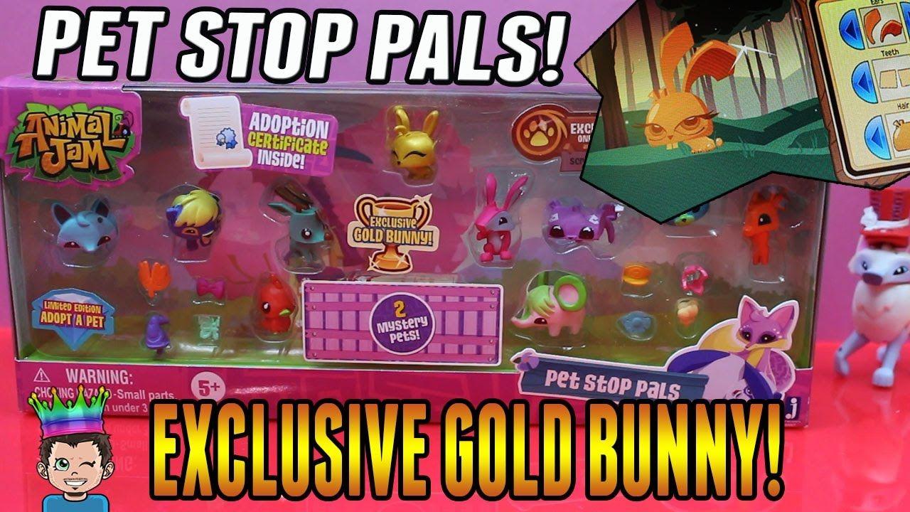 Animal Jam - Pet Stop Pals - New Playset With Exclusive Gold Bunny & Gam...