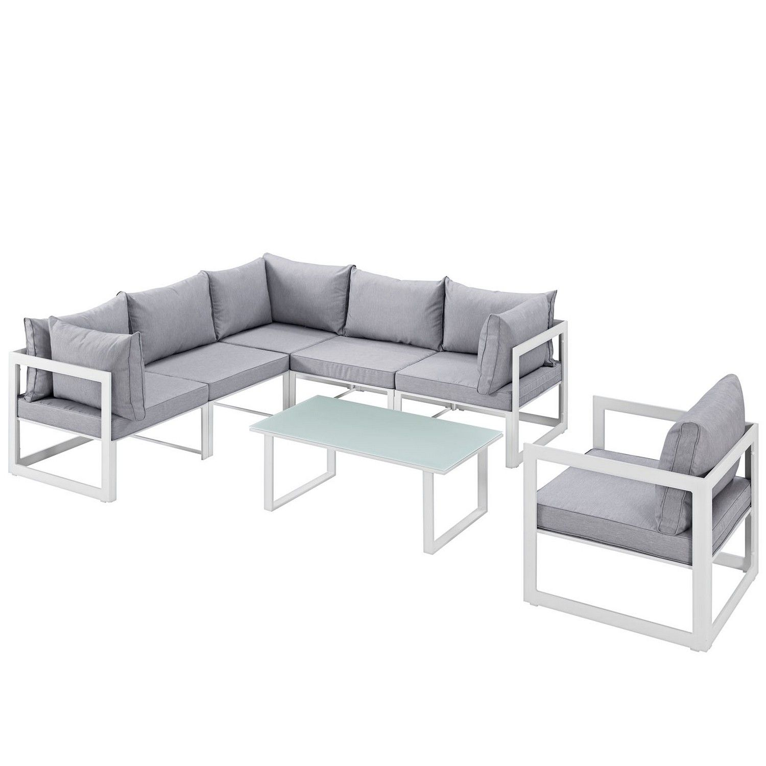 Modway Fortuna 7 Piece Outdoor Patio Sectional Sofa Set White