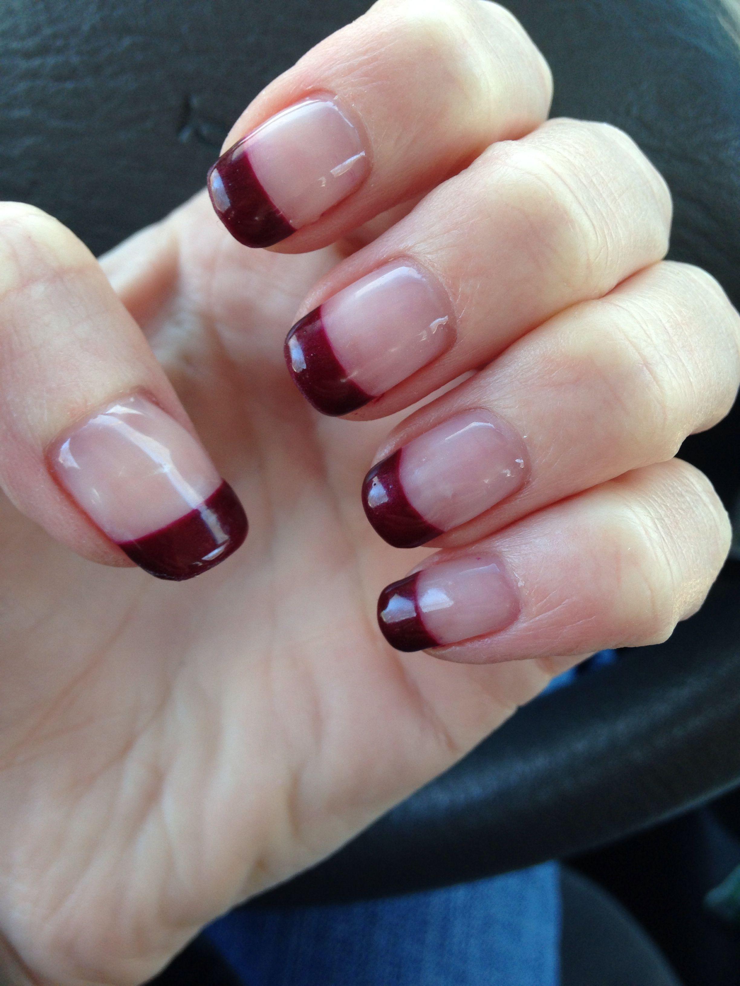Gel Nails Berry Colored Tips Nails Nail Designs Gel Nails