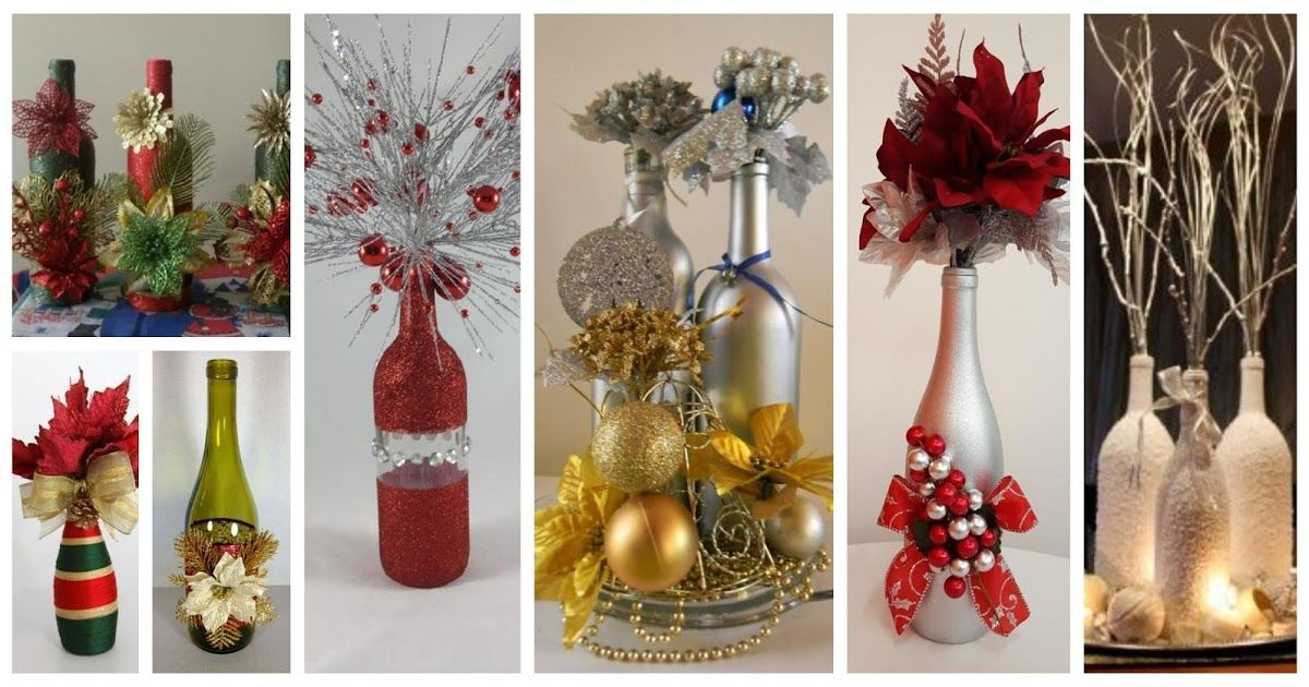 Aprende Como Decorar Botellas De Vidrio Recicladas Para Navidad Glass Bottle Crafts Bottle Crafts Bottles Decoration