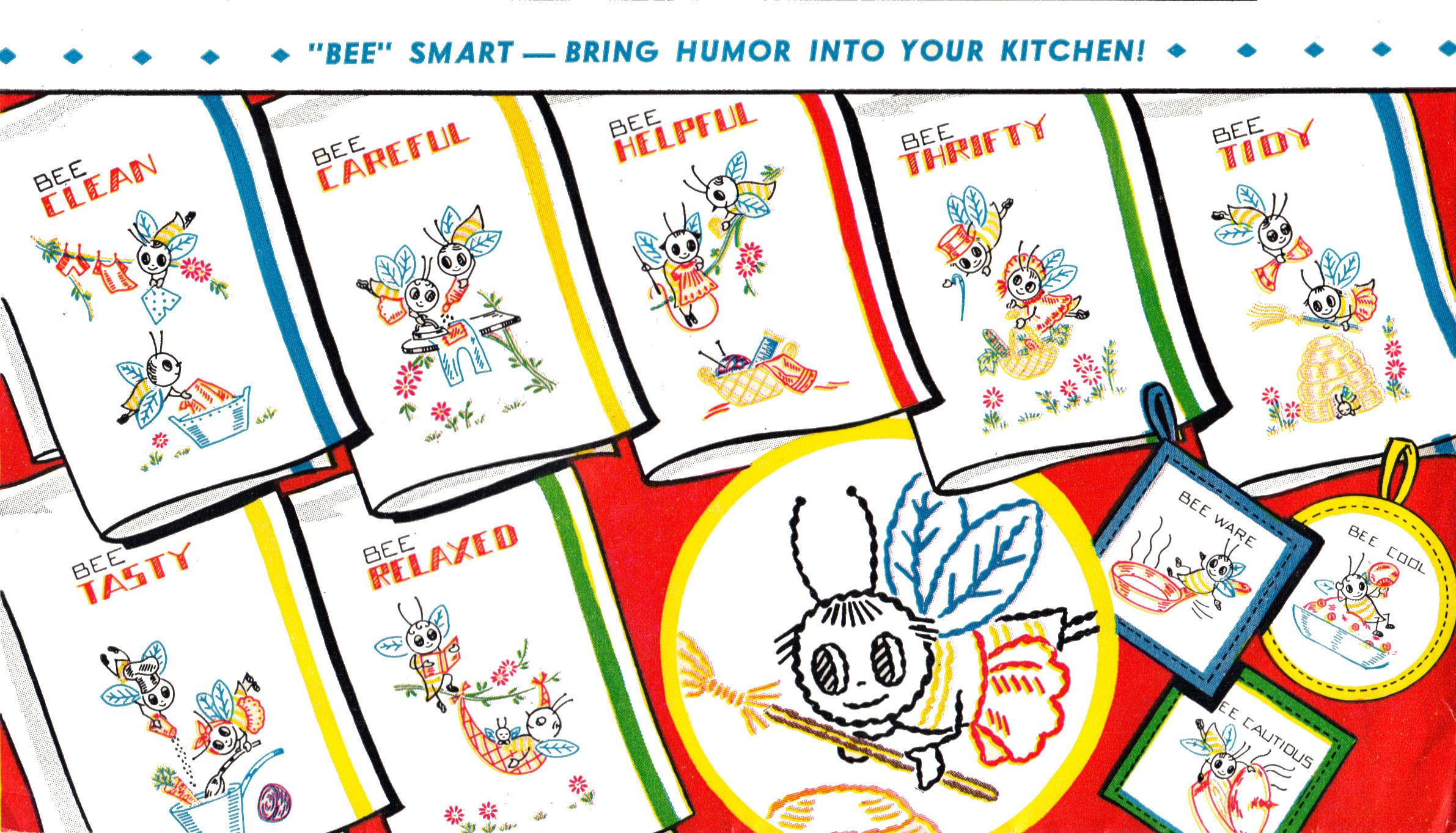 Free embroidery patterns..40s vintage - Bee Helpful....Bee Relaxed ...