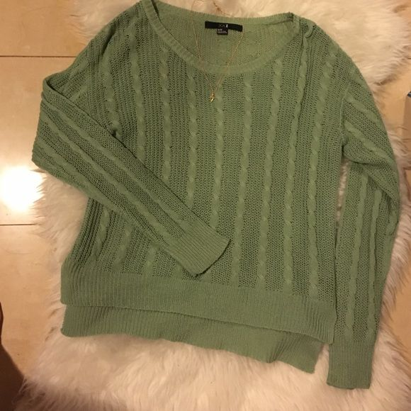 Green knit sweater Cute green knit sweater with side cuts Forever 21 Sweaters Crew & Scoop Necks