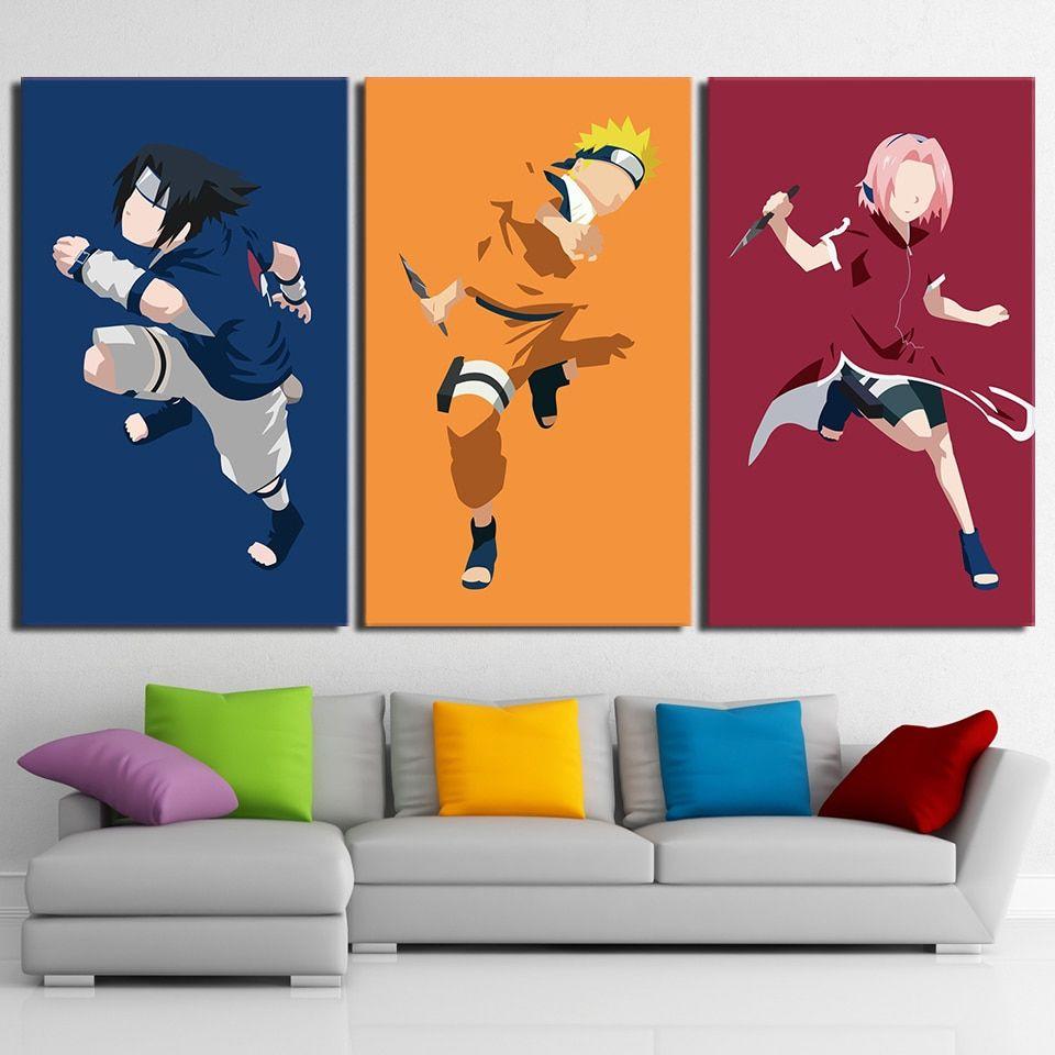 3 Pieces Naruto Sasuke Sakura Comic Painting Canvas Naruto Decoracao Sakura E Sasuke Canvas