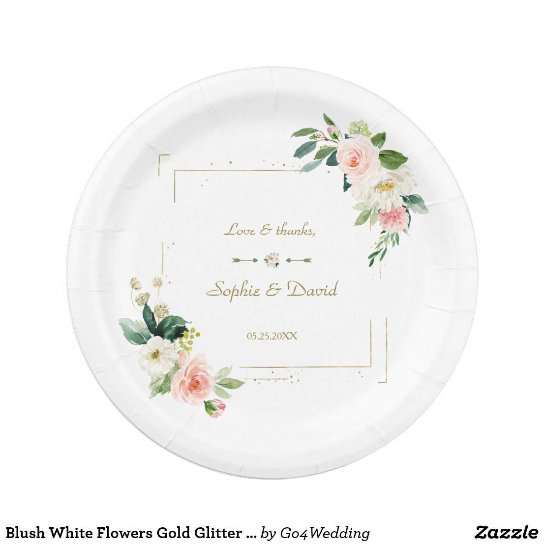 Blush White Flowers Gold Glitter Wedding Paper Plate Zazzle Com