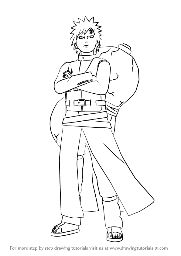 Learn How To Draw Gaara From Naruto Naruto Step By Step Drawing