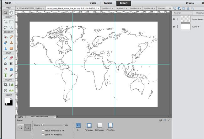 Diy map art for the wall silhouette filing and walls world map broken into square quadrants using photoshop gumiabroncs Gallery