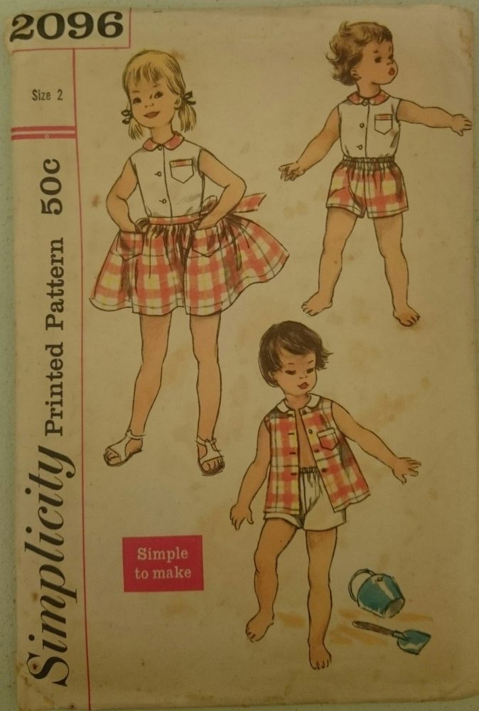 Vintage 1950s Sewing Pattern Simplicity 2096 Child s Blouse Shorts ...