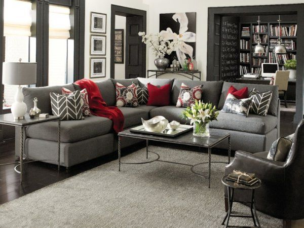 I love the grey with pops of color and dark accents - Grey and black living room pictures ...