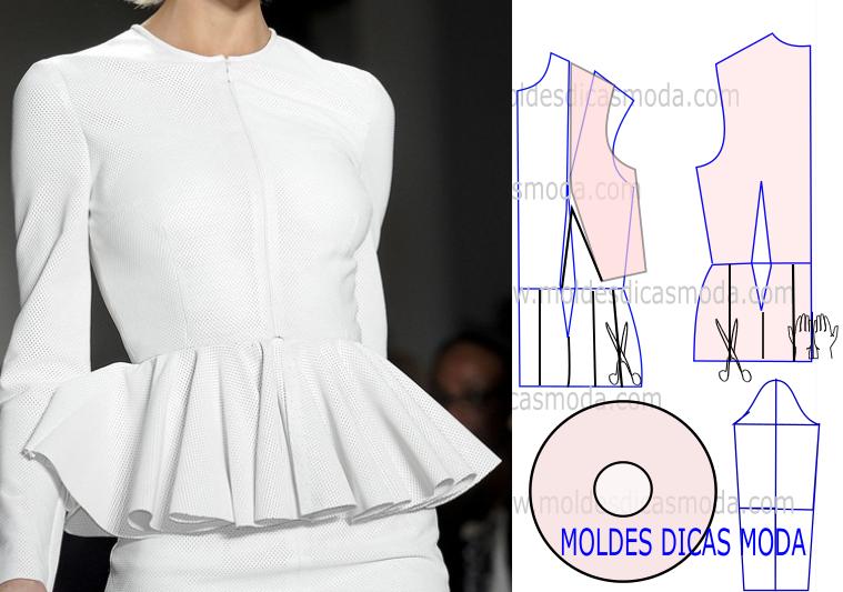 Resultado de imagen para patron de blusa peplum | patrones de blusas ...