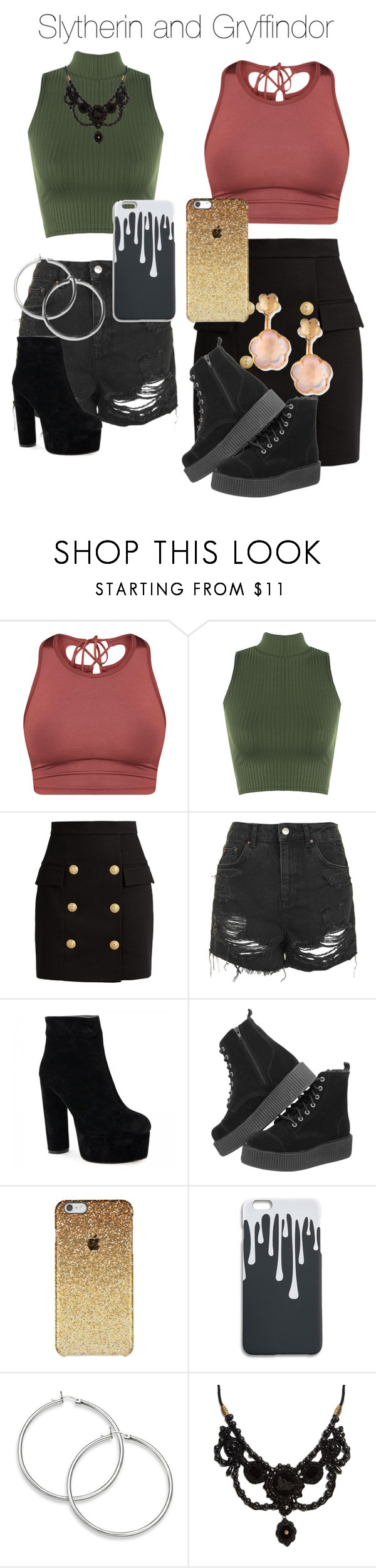 """Slytherin and Gryffindor"" by adisonn555 ❤ liked on Polyvore featuring WearAll, Balmain, Topshop, Gucci and Pasquale Bruni"