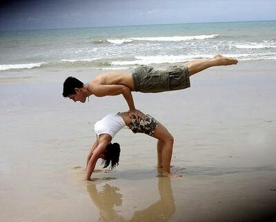 couples/partners yoga pose/peacock  full wheel