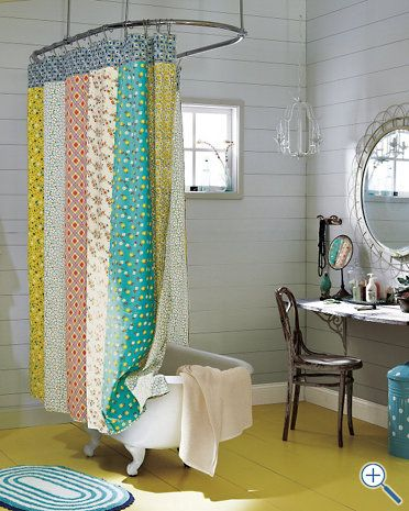 Half Moon Bay Reversible Shower Curtain The Inspiration For Our Downstairs Bathroom Wall Cladding And Chartruese Marmoleum With Large White Floor Molding