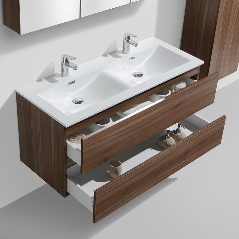 Meuble salle de bain design double vasque SIENA largeur 120 cm, noyer - Le  Monde d7be79740edc