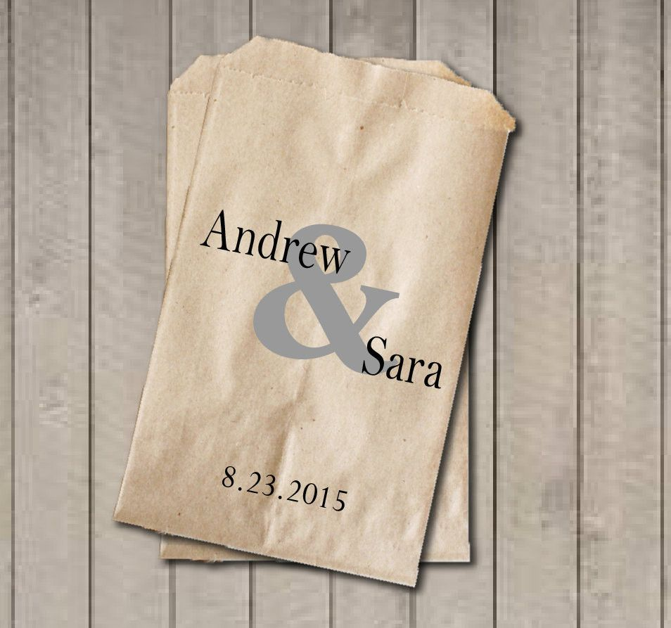 Personalized Favor Bags, Ampersand Wedding Favor Bags, Wedding Candy ...