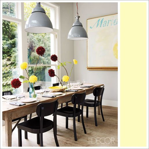 Photo of industrial light fixtures, rustic table