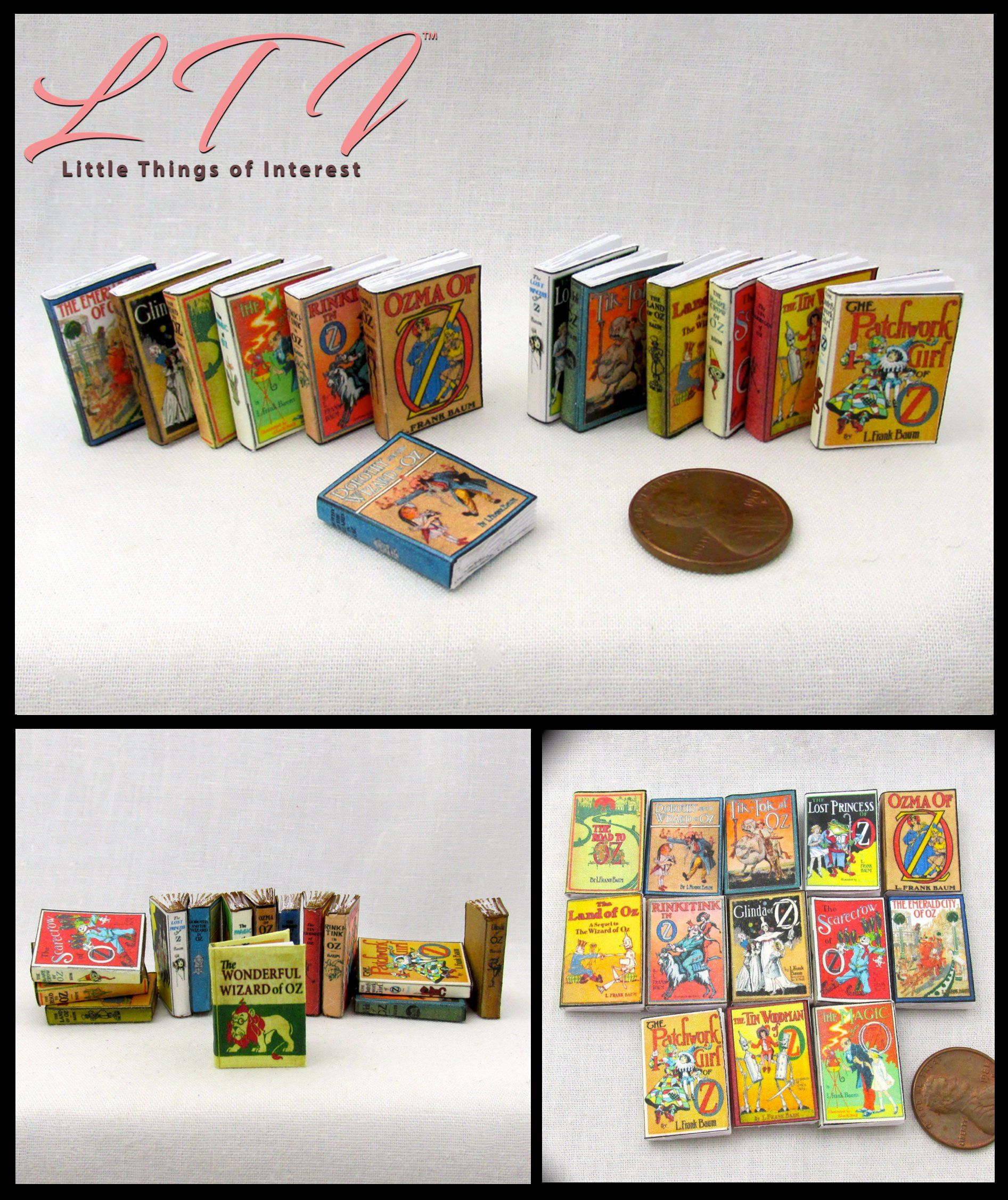 Dollhouse Miniature Set of 8 Books with Blank Pages 1:12 Scale