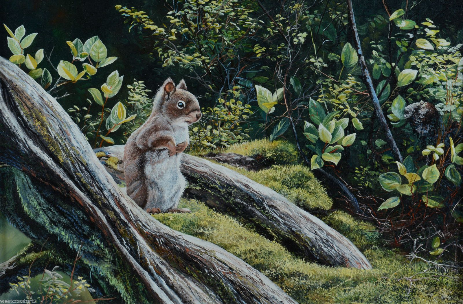 Andrew kiss original painting squirrel in forest canadian
